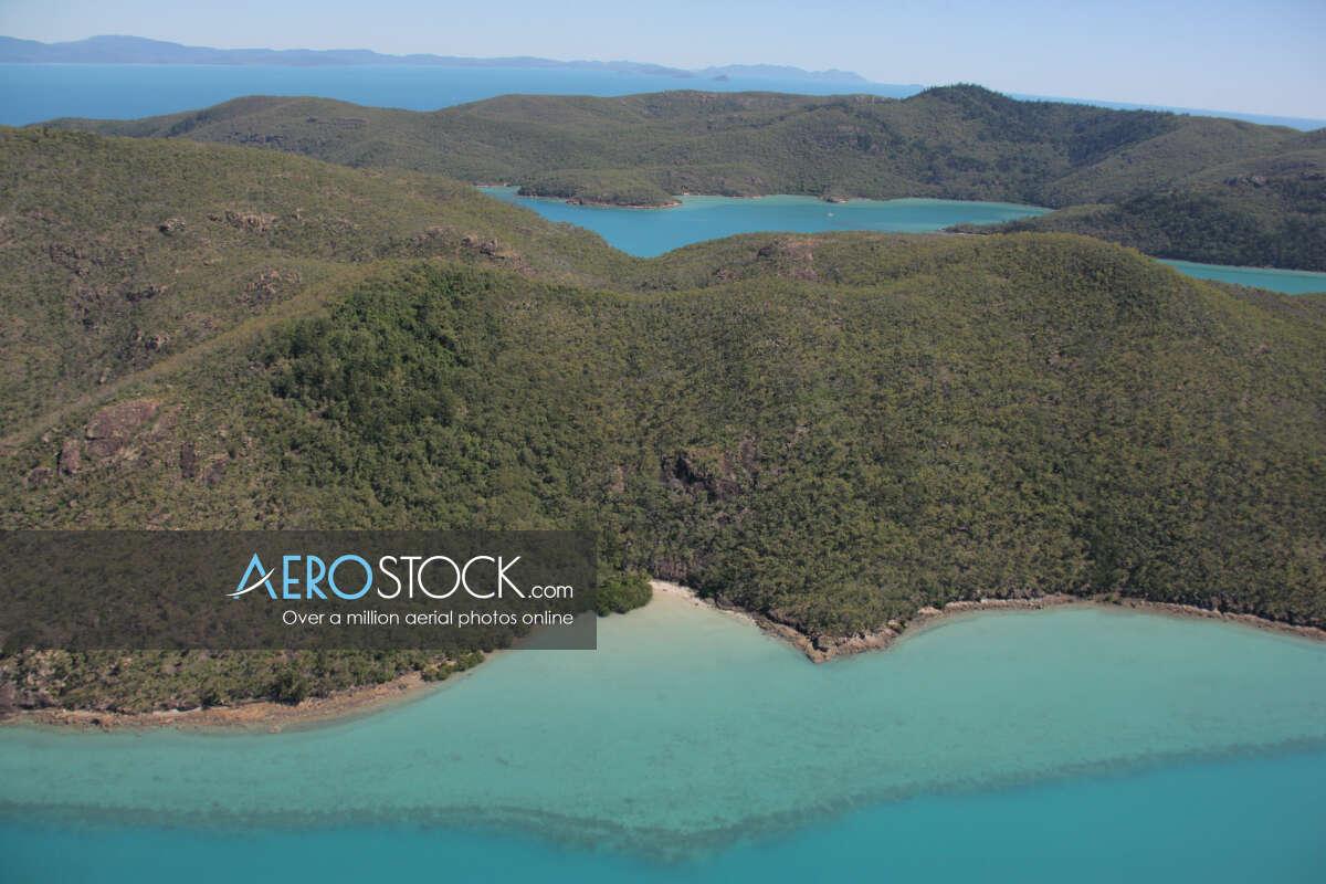 Sky-high panoramic aerial photo of Whitsundays, 4802, Australia