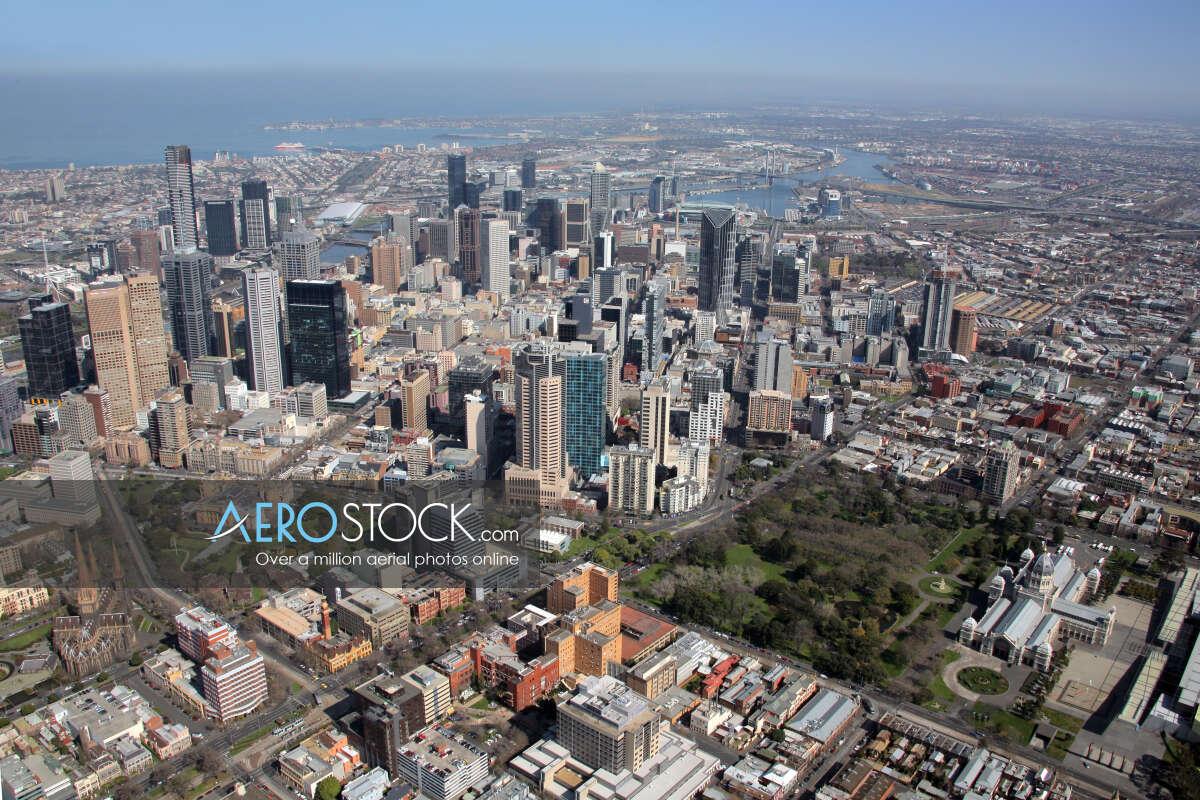 Drone panoramic aerial photo of Melbourne, 3000, Australia