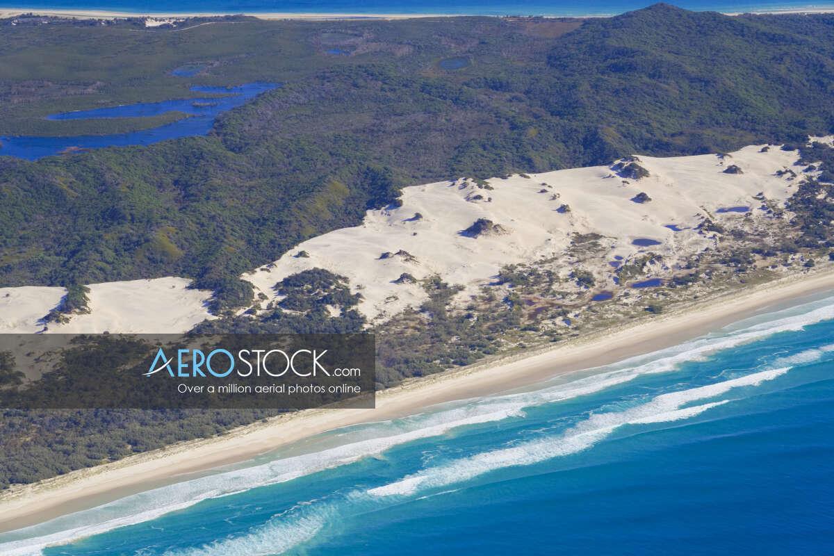 Aerial panoramic aerial photo of Moreton Island, 4025, Australia