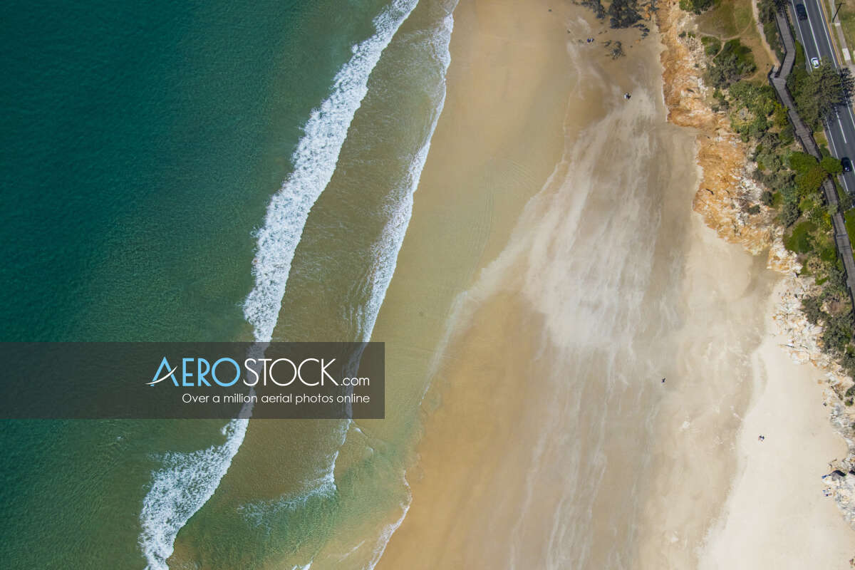Drone stock image of Coolum Beach taken on the August 8th, 2017 11:42.