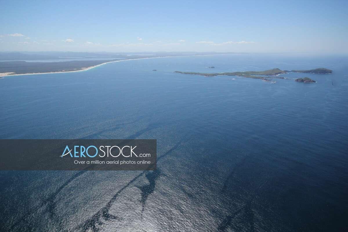 Aerial stock photo of Mid-Coast.