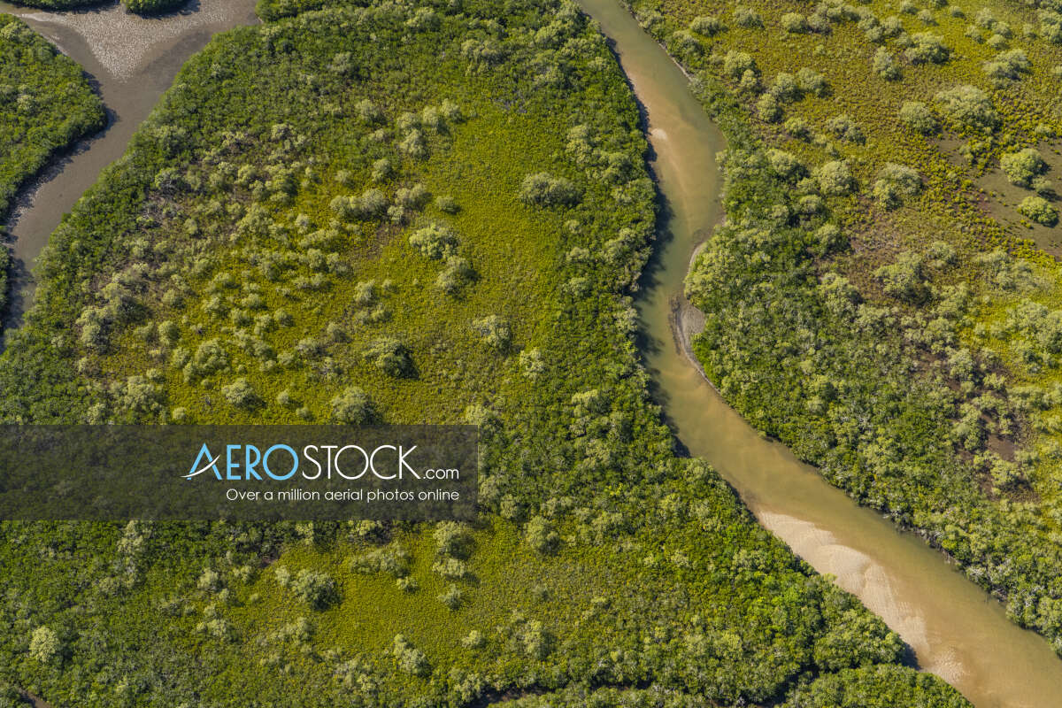 Sharp and finely detailed stock image of Coochin Creek, QLD.
