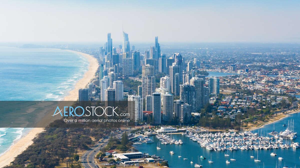 Aerial image of Main Beach, Gold Coast.