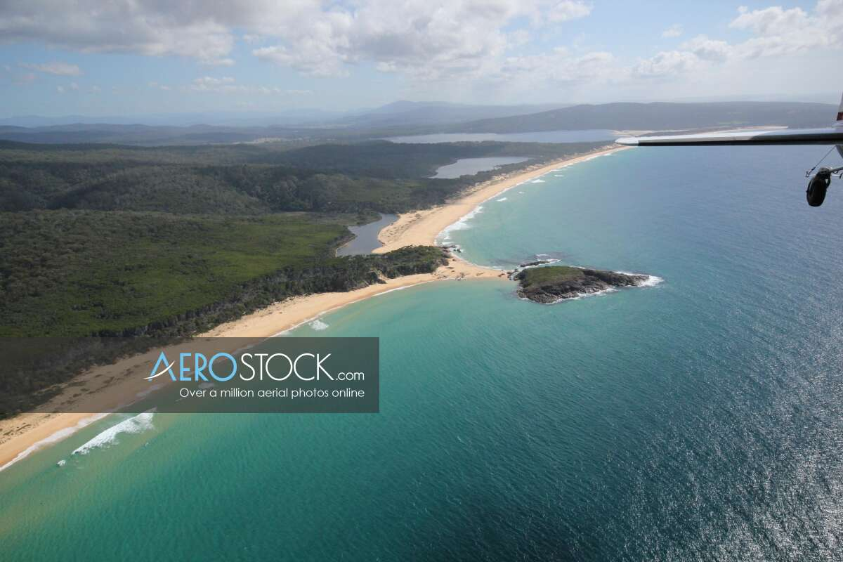 Aerial panoramic aerial photo of Bournda, 2548, Australia