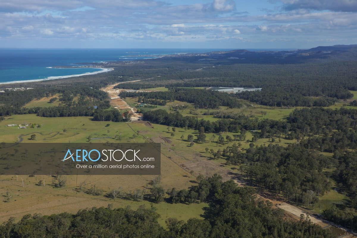 Discounted panoramic aerial photo of Corindi Beach, 2456.