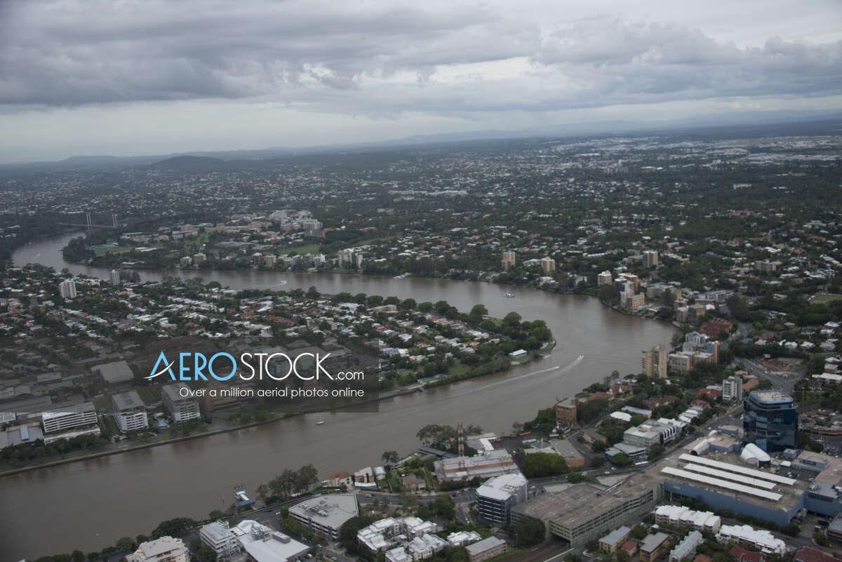 Aerial snapshot of Brisbane, Queensland.