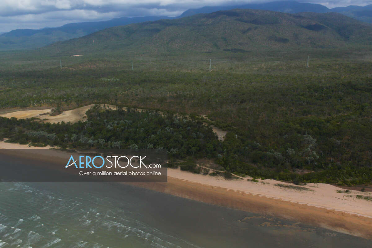 Sharp and finely detailed panoramic aerial photo of Balgal Beach.