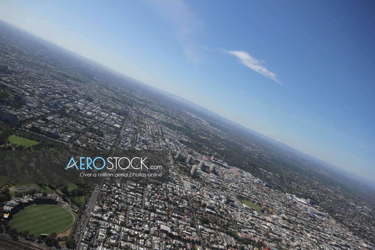 High definition panoramic aerial photo of East Melbourne.