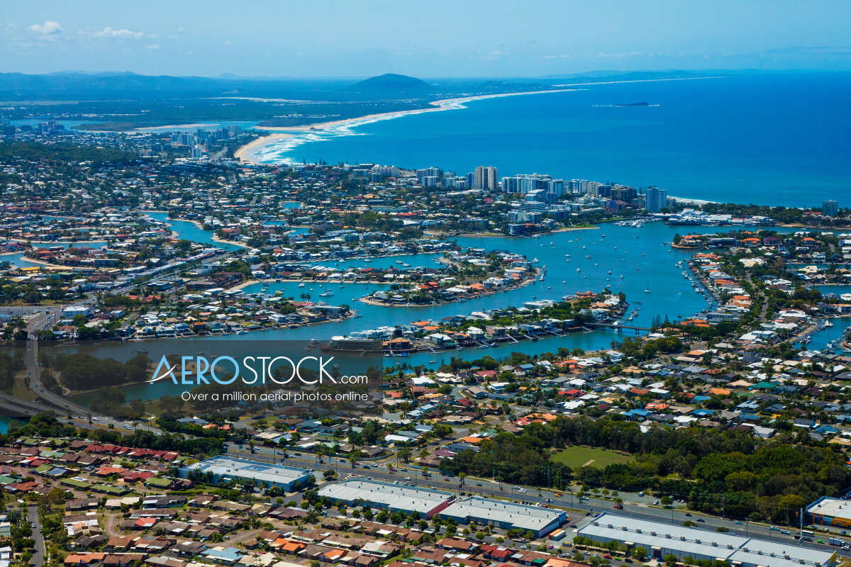 High res panoramic aerial photo of Sunshine Coast.