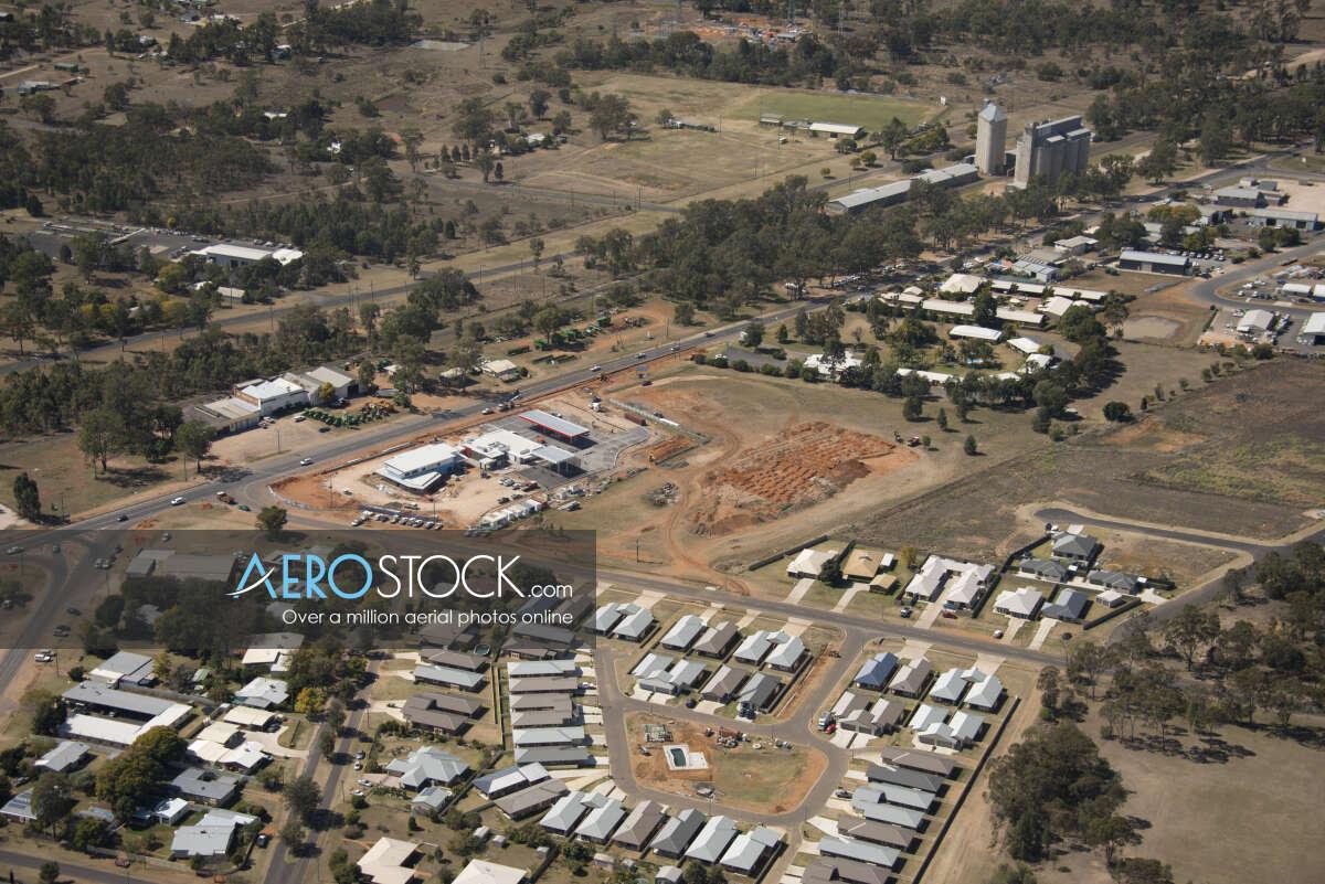 Sky-high panoramic aerial photo of Chinchilla, 4413, Australia