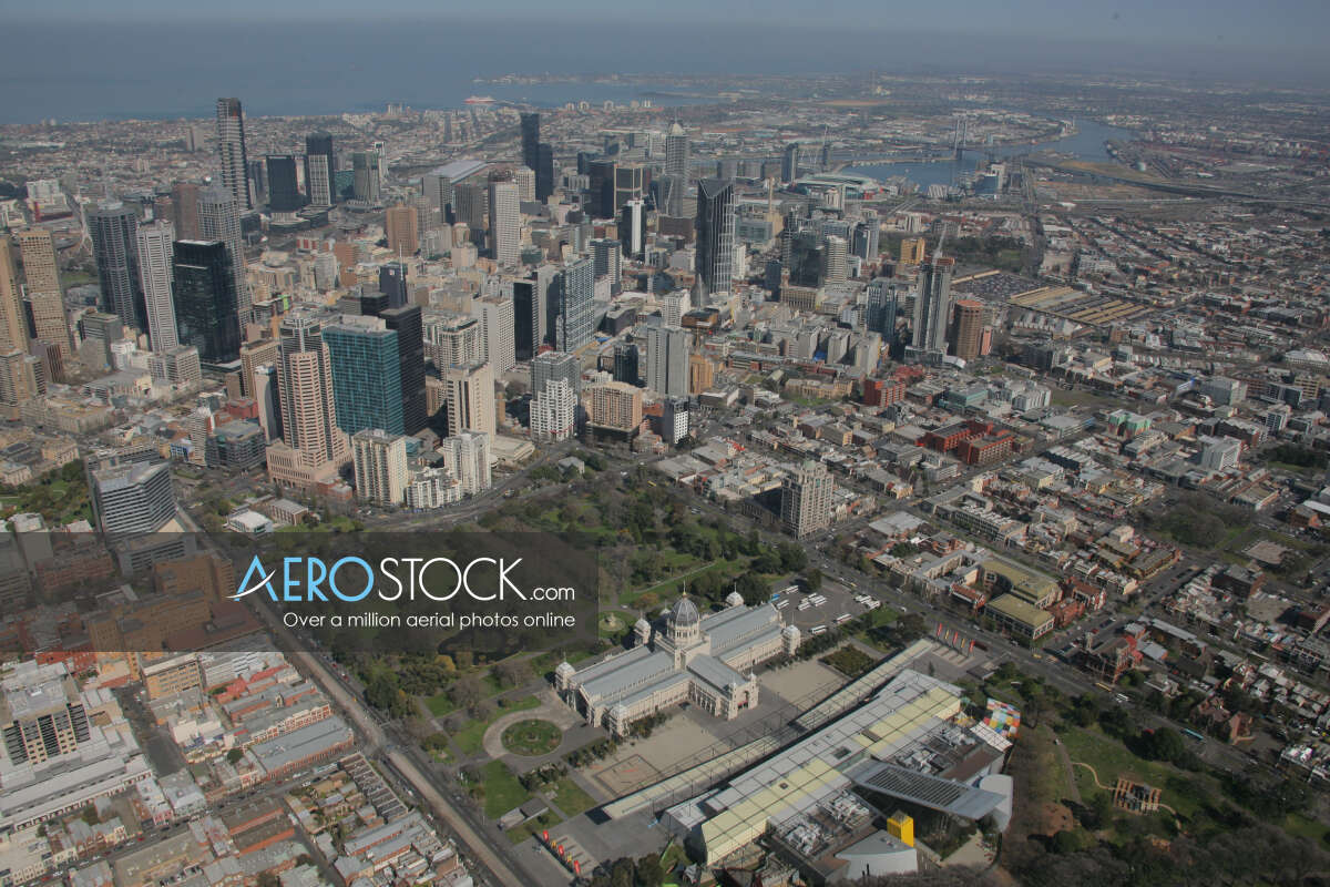 Aerial stock photo of Melbourne