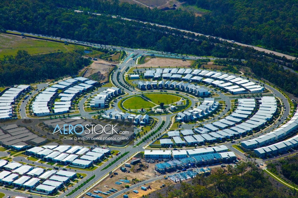 Sky-high stock image of Upper Coomera taken on the May 7th, 2019 12:24