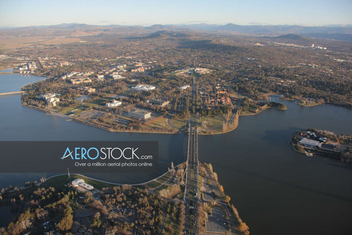 Aircraft panoramic aerial photo of Canberra, 2601, Australia