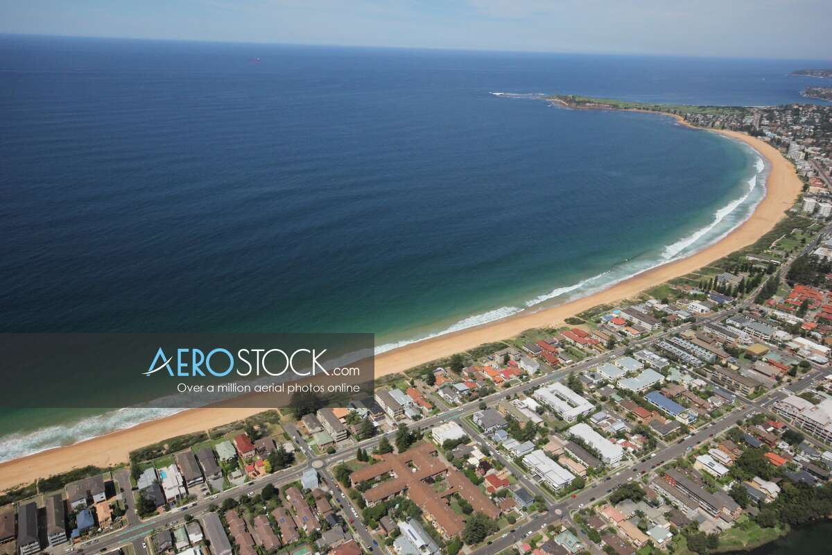 Discounted panoramic aerial photo of North Narrabeen, 2101.